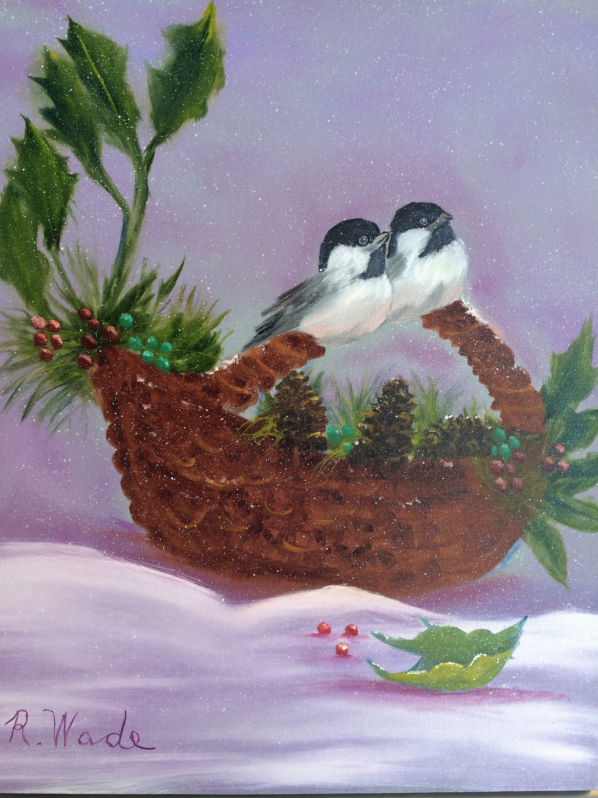 "This painting ""Two Birds in a Basket"" was done in a class at Hobby Lobby."