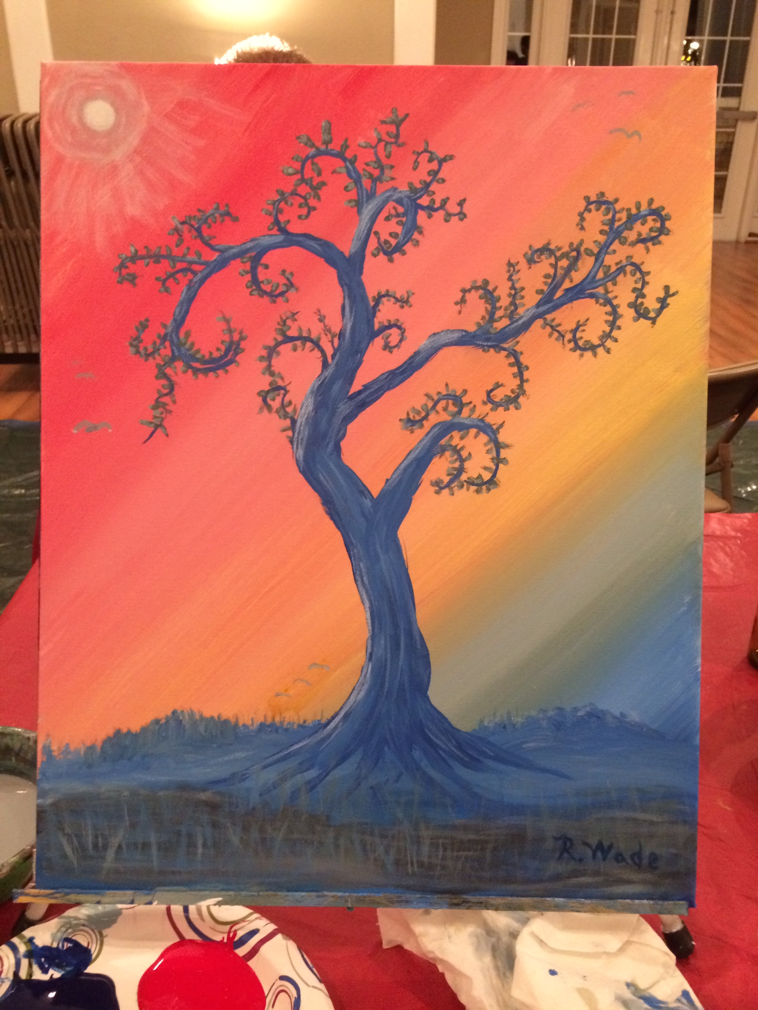 "This is an acrylic painting done in a ""Wine & Paint"" class held in our neighborhood and is entitled ""Fantasy Tree""."