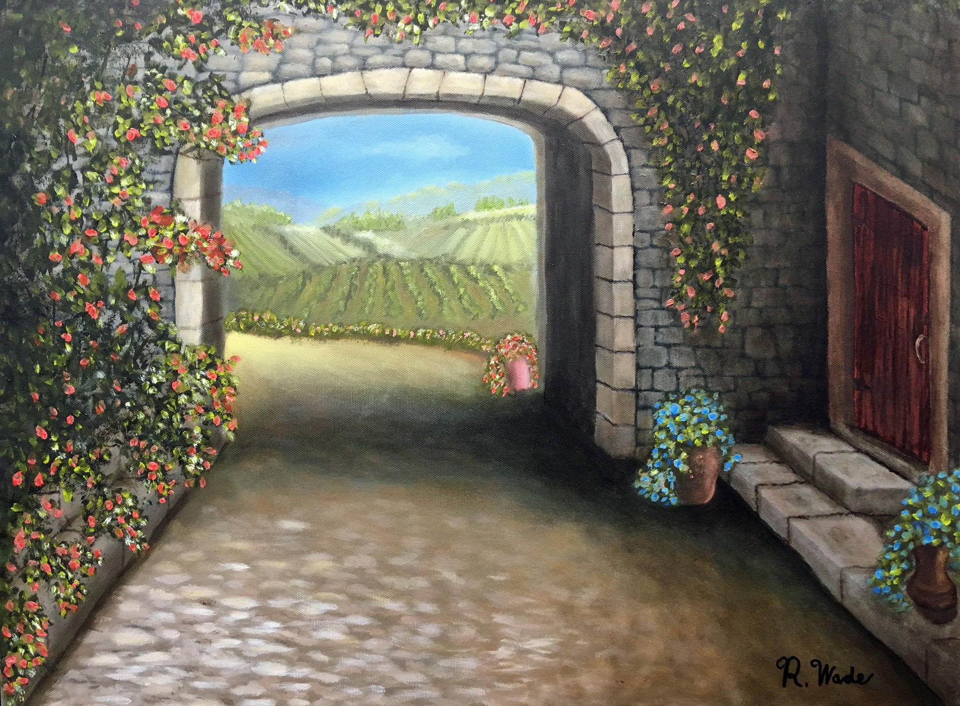 My daughter asked that I paint her an Italian scene so I did one based on Kevin Hill's work but added steps and a door.