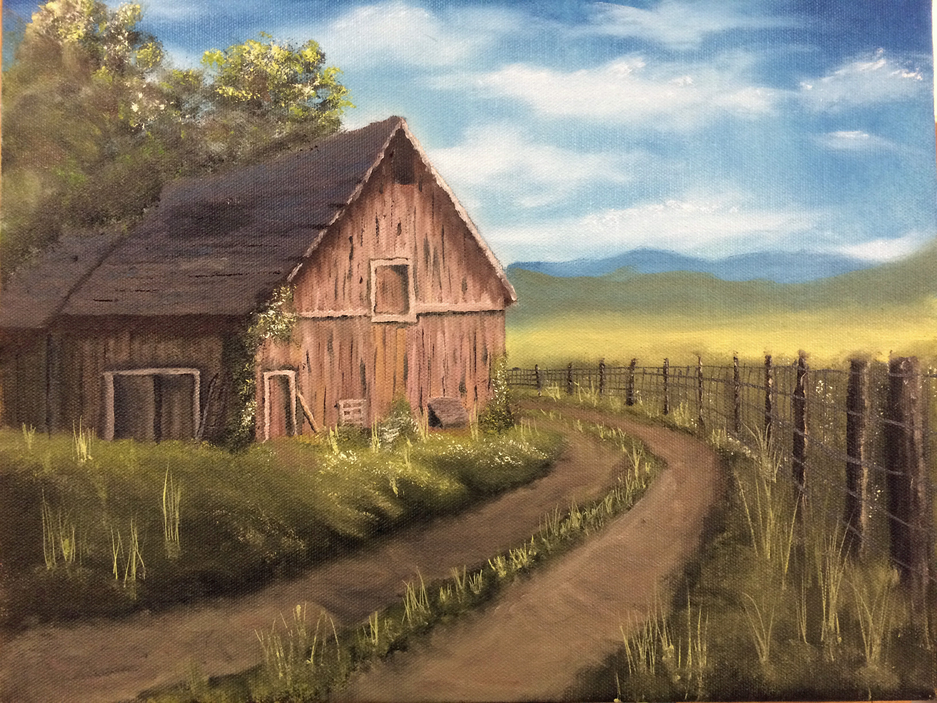 During the class that artist Kevin Hill held in Florida I painted this barn scene based on his work.