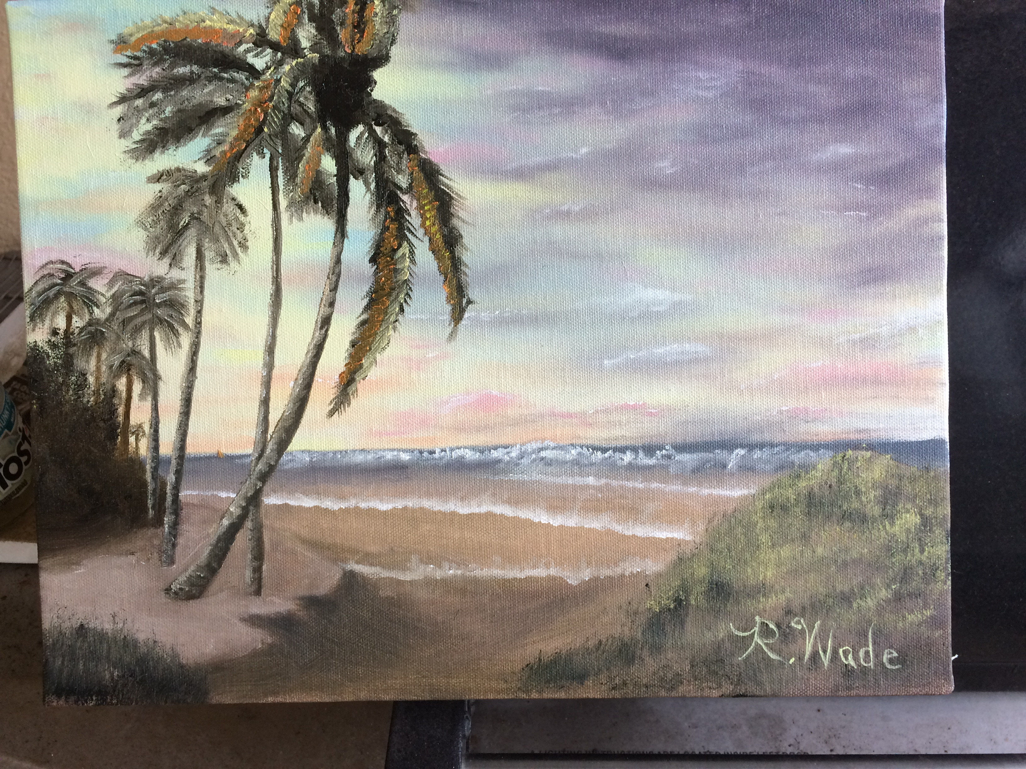 When artist Kevin Hill came to Florida I attended his multi-day class which I greatly enjoyed and learned a great deal. This is my first tropical scene based on Kevin's work.