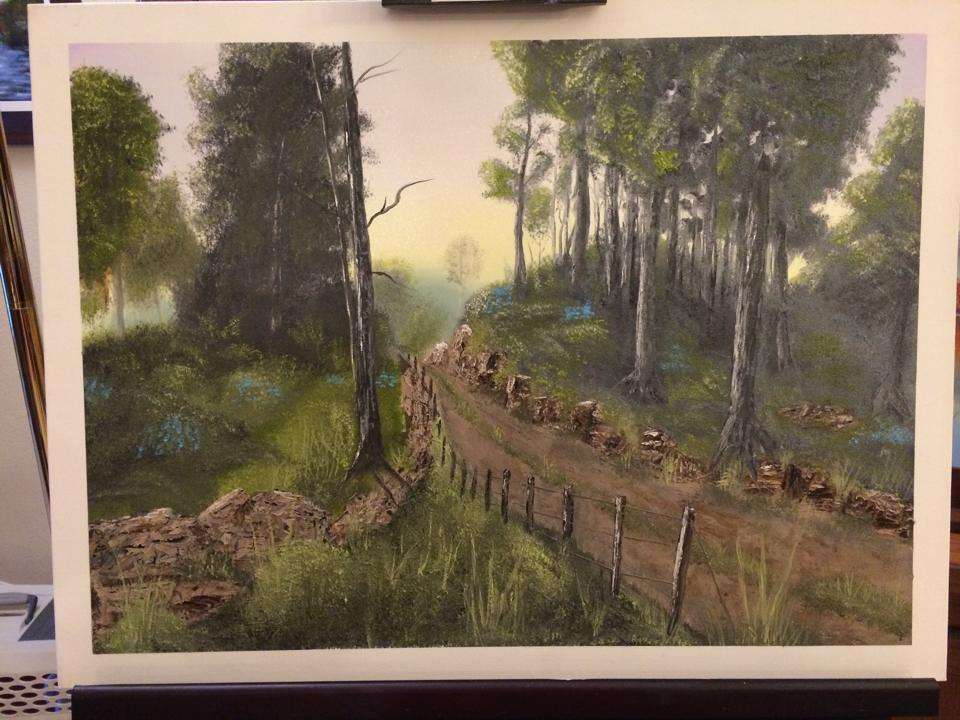 "This painting is based on Kevin Hill's ""Forest Path"" art. When I could do the stream after 3 tries I did a road instead."
