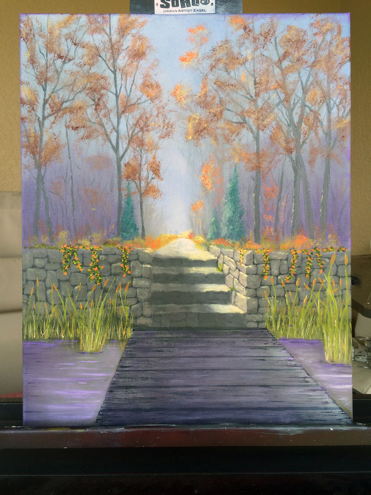 "This painting is based on Jerry Yarnell's ""Steps to Nowhere"". Instead of a path in the foreground I added water and a dock."