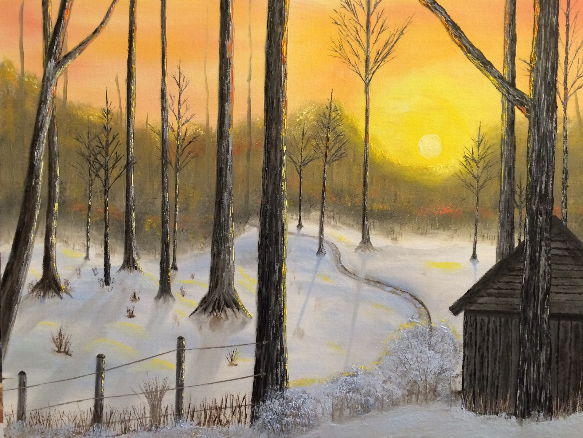 This is my attempt at a sunset winter scene.