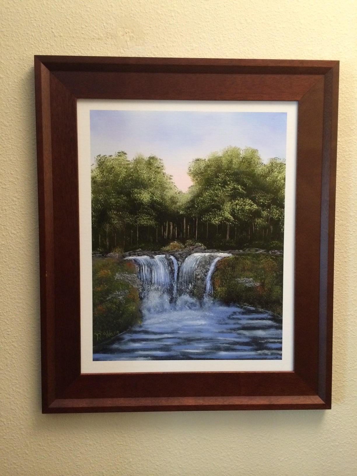 "This painting is based on Wilson Bickford's ""Twin Falls"" art."